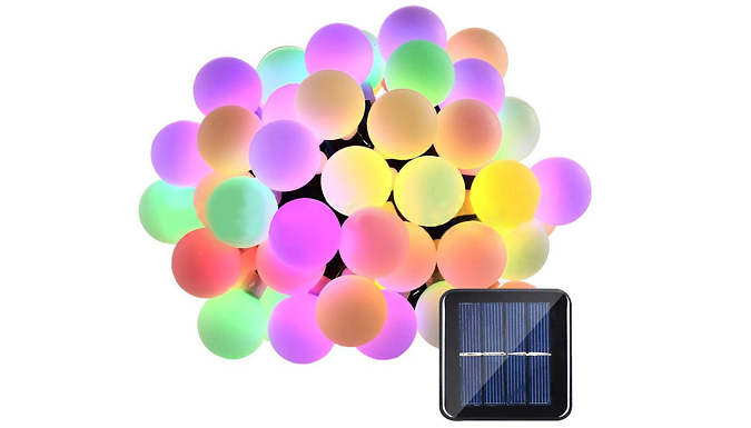 50-LED Solar Powered Crystal-Ball 5m String Lights - 2 Colours