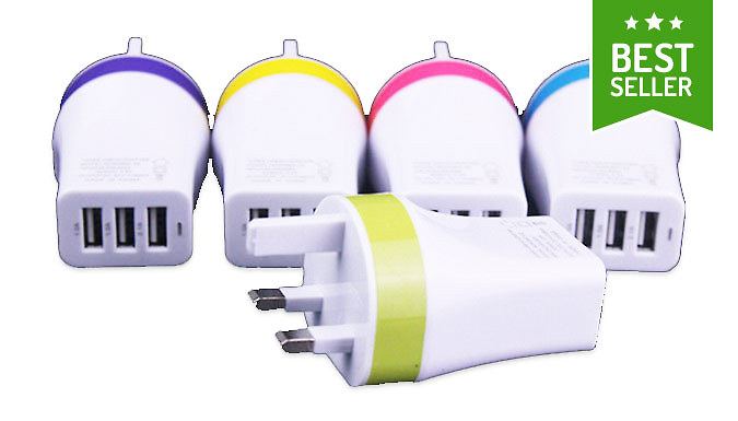3in1 USB UK Charger Plug  5 Colours