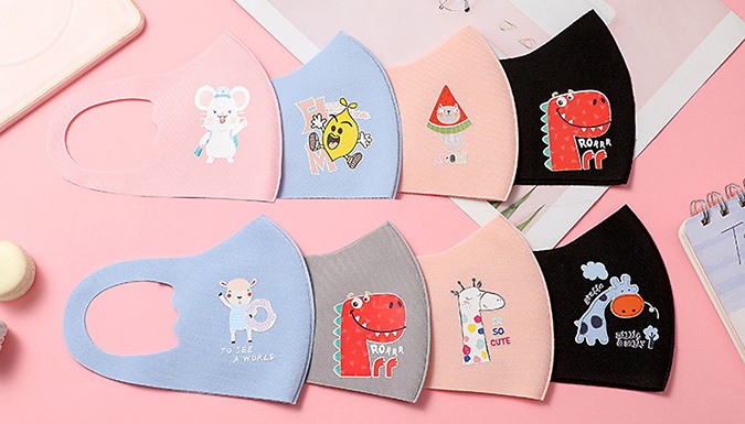 1, 5 or 10-Pack of Kids' Cartoon Print Face Masks - 5 Colours from Arther Gold