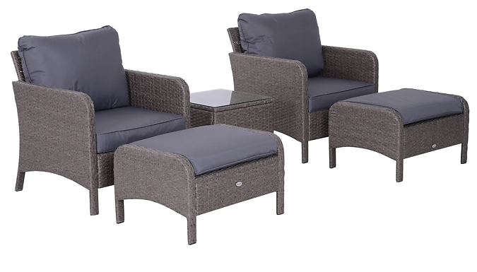 Outsunny 5-Piece Rattan Chairs, Footstool & Coffee Table Set