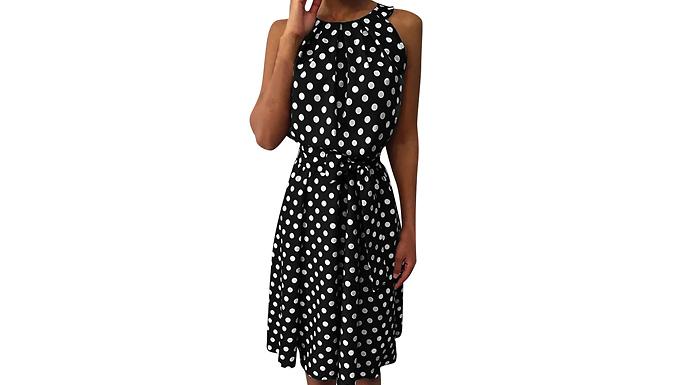 Polka Dot Sleeveless Midi Dress - 5 Colours & 3 Sizes