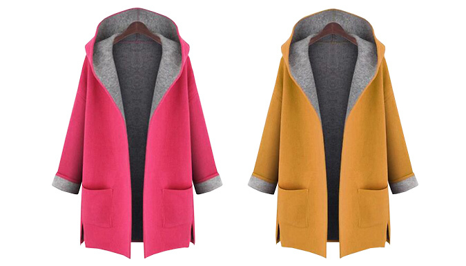 ContrastDetail Hooded Coat  2 Colours 5 Sizes