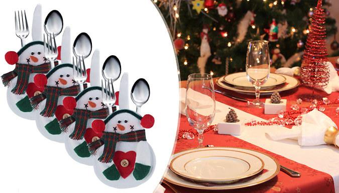4 Snowman Cutlery Holders
