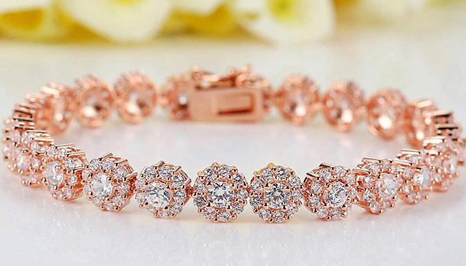 18K Rose Gold Plated Crystal Bracelet