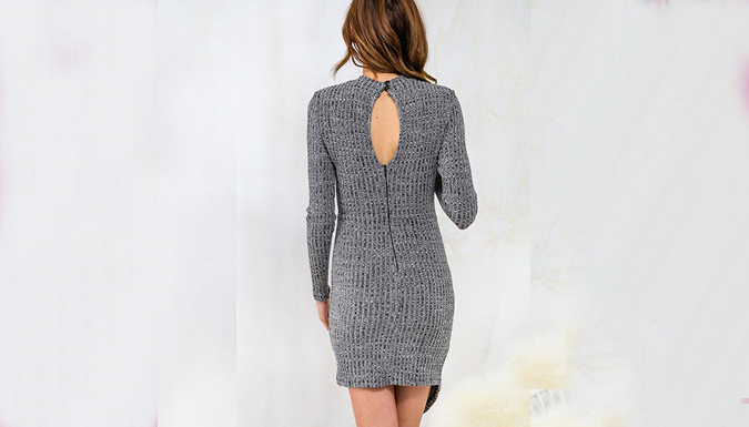 Grey Bodycon Knitted Jumper Dress - 3 Sizes