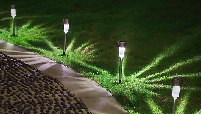Image of 10 Solar-Powered Garden Post Lights