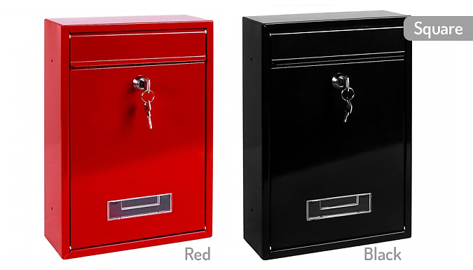 Wall-Mounted Lockable Steel Letter Box - 3 Options & 4 Colours
