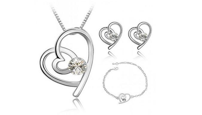 18K White GoldPlated Crystal Heart Jewellery Set