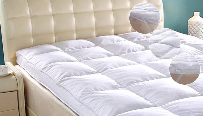 Save on 7cm Goose Feather and Down Mattress Topper - 5 Sizes from Go Groopie