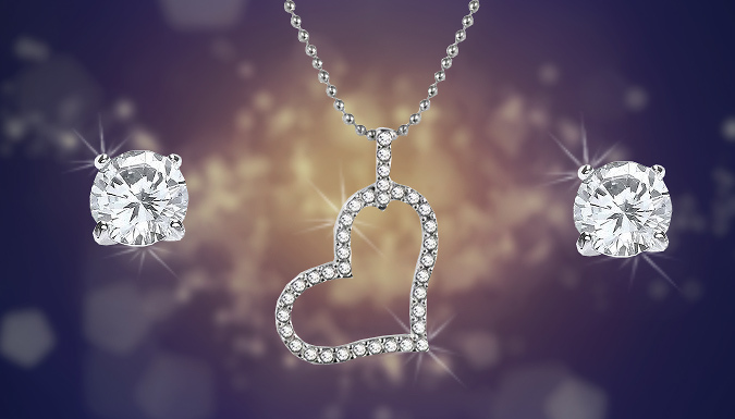 Crystal Heart Necklace and Earrings Set