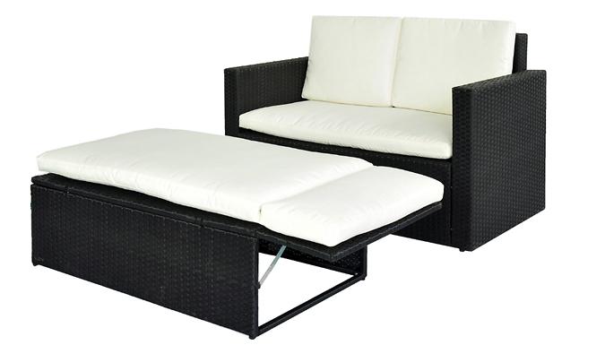 2-Person Rattan Love Sofa Set – 2 Colours (£129)