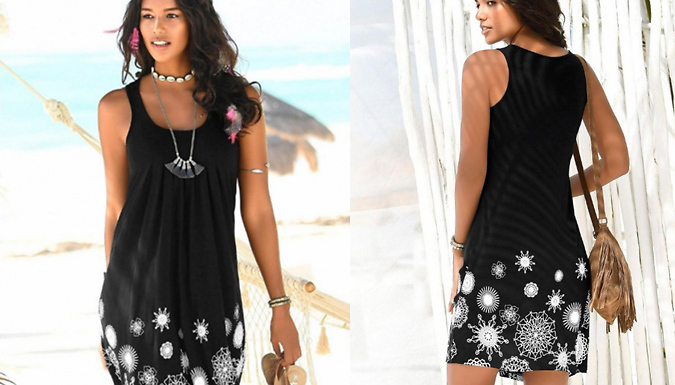 Summer Sleeveless Floral Detail Midi Dress - 4 Colours & 3 Sizes