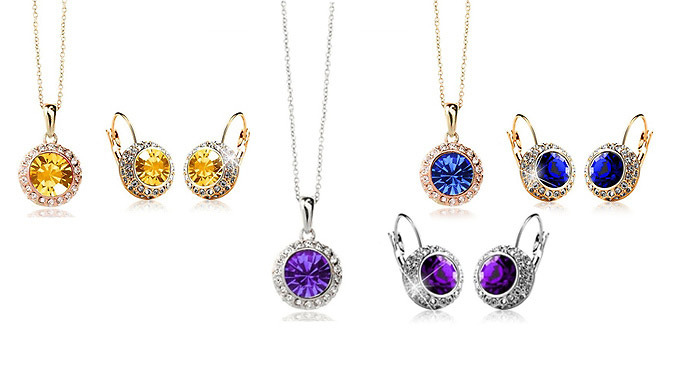 Necklace and Earrings Set with Swarovski Elements  6 Colours