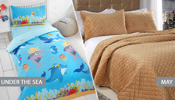Single, Double or King Size Duvet Cover & Pillowcase Sets - 15 Designs!