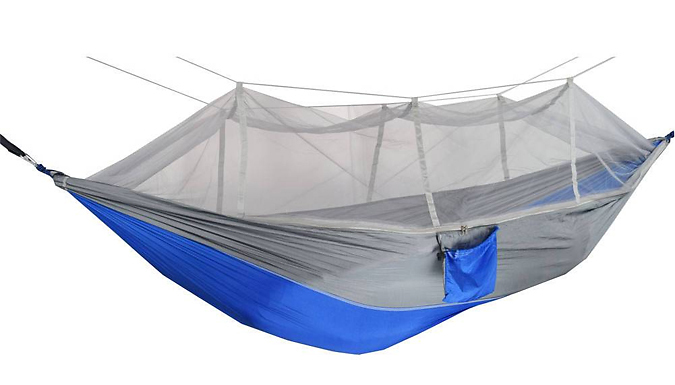 2-Person Portable Hammock With Mosquito Net & Hooks - 4 Colours