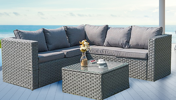5-Seater Yakoe Monaco Rattan Corner Sofa Set With Cover (£299.99)