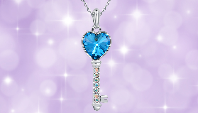 Blue Crystal Lucky Key Necklace