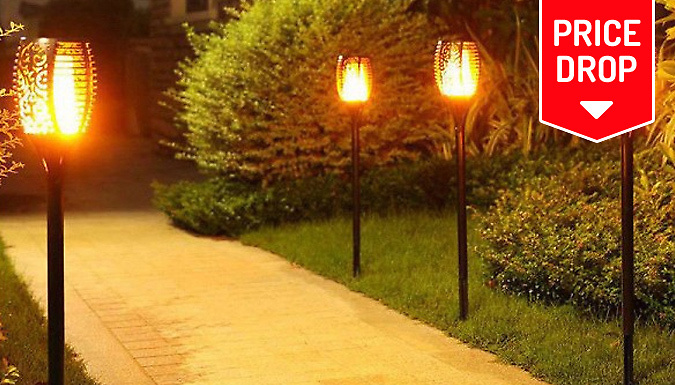 Solar Garden Lamp With Flickering Flame  1, 2 or 4