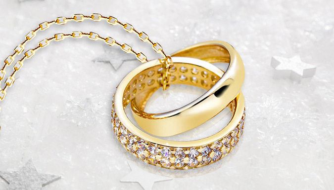 Gold Plated Double Ring Crystal Pendant