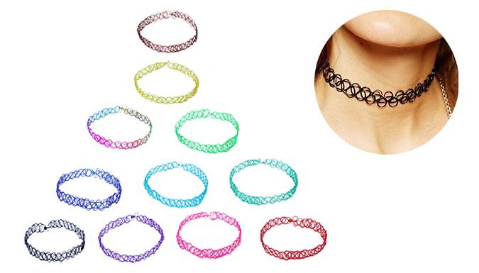 Retro Stretch Choker Necklace - 10 Colours
