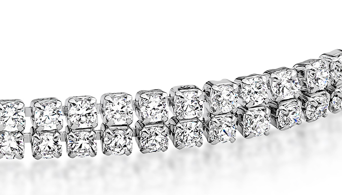 18K White Gold-Plated Tennis Bracelet with Clear CZ Crystals