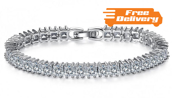 7ct Simulated Sapphire Square Tennis Bracelet  Free Delivery!