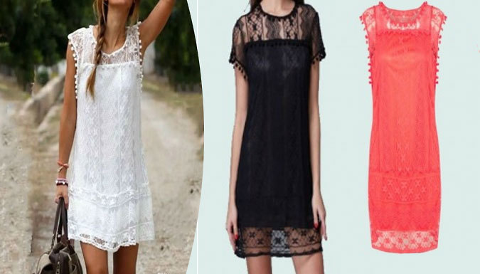 LaceDetail Summer Shift Dress  3 Colours 5 Sizes