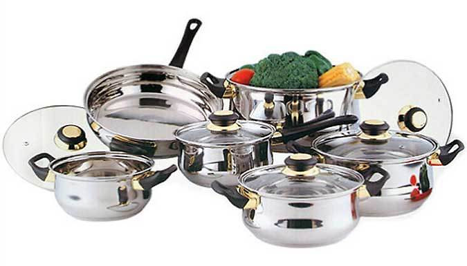 12-Piece Stainless Steel Pan Set - Free Delivery!