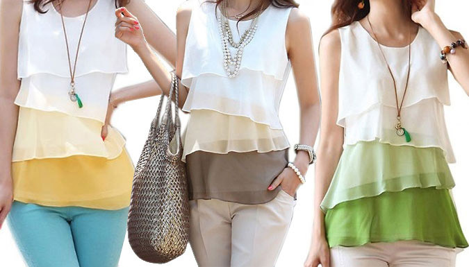 Chiffon Tiered Blouse  3 Colours