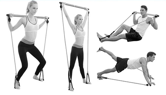 Pilates Stick with Resistance Bands - Comes with Workout DVD! from EClife-Style