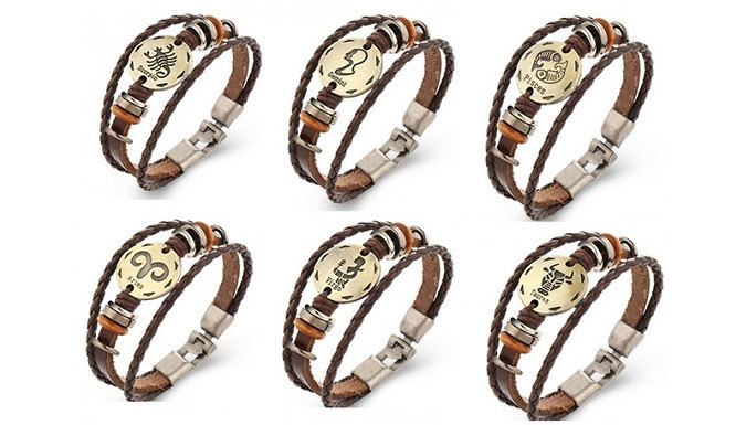 Simulated Leather Zodiac Bracelets  12 Star Signs
