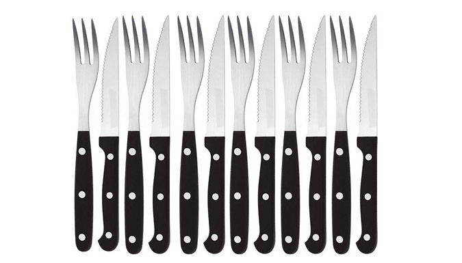 Stainless Steel Steak Knives & Fork Set - 12 or 24-Piece
