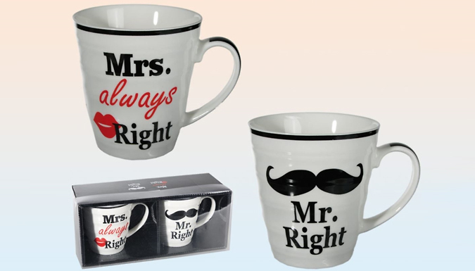 Compare retail prices of 'Mr. Right' & 'Mrs. Always Right' Mug Set to get the best deal online