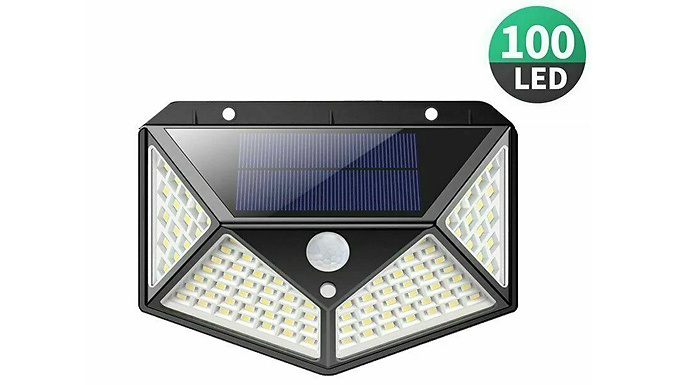 100-LED Solar Powered Motion Sensor Light - 1, 2 or 4-Pack