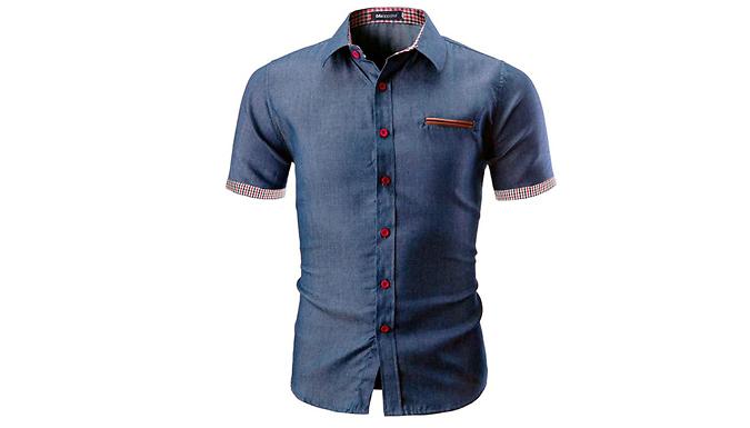 Men's Slim-Fit Denim Shirt - 2 Colours & 5 Sizes
