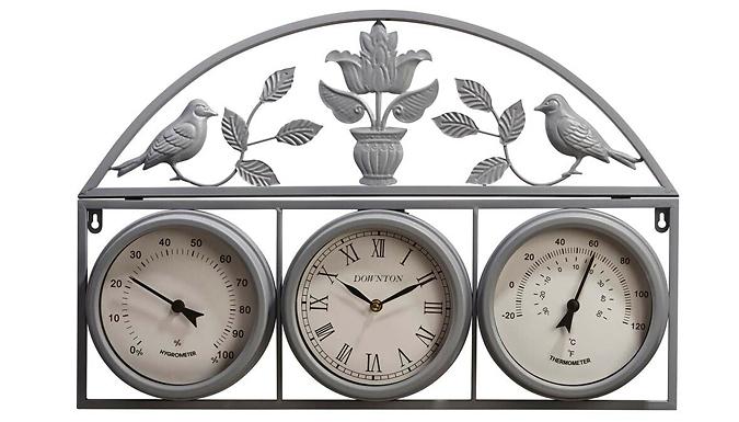 Garden Ornate Weather Station Clock