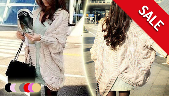 Chunky Batwing Cable Knit Cardigan  7 Colours