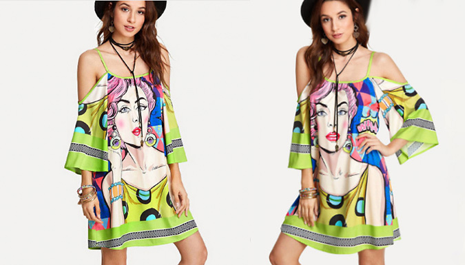 Cut-Out Shoulder Bold Print Dress - 4 Sizes & 3 Designs