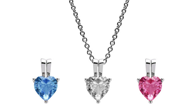 Heart Pendant Necklace with Crystals From Swarovski