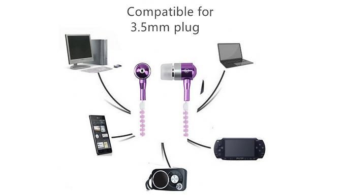 Luminous Zipper Design Sports Earphones - 6 Colours