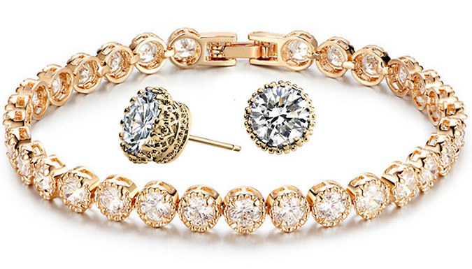 Swarovski Elements Tennis Bracelet & Earrings Duo Set