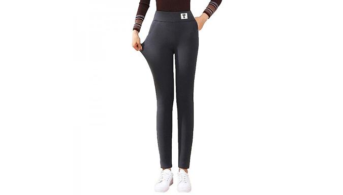 Women's Thick Fleece Leggings - 2 Designs & 5 Sizes