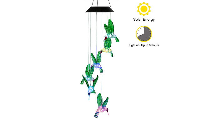 Hummingbird Colour Changing Solar Chime - 2 Colours