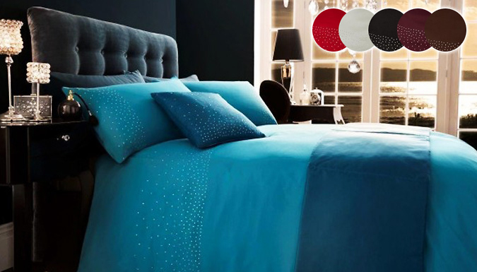 5-Piece Diamante Duvet Set - 7 Colours