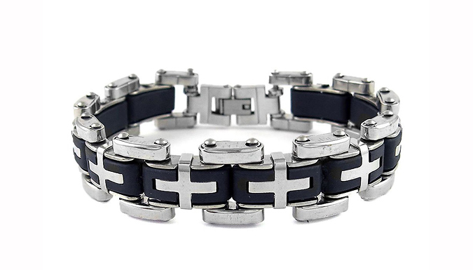 Cross-Link Steel Bracelet