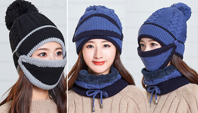 Stay snug with this 3-in-1 Warm Pom Pom Hat Choose from 6 colours  pink 07c687e44566