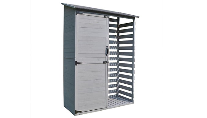 Millport Wooden Garden Tool Shed with Log Storage