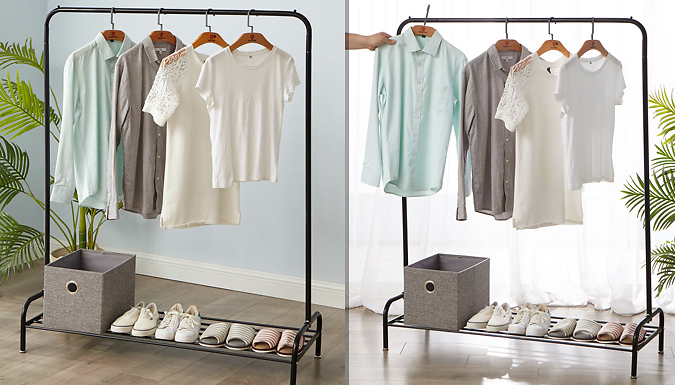 Heavy Duty Metal Clothes Hanging Rail With Shoe Rack