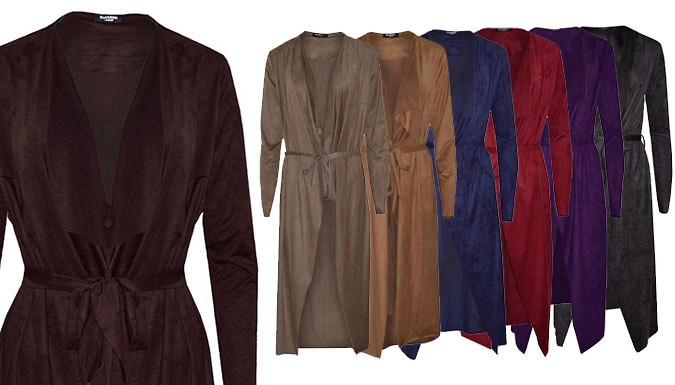 Faux Suede Draped Waterfall Jacket  7 Colours
