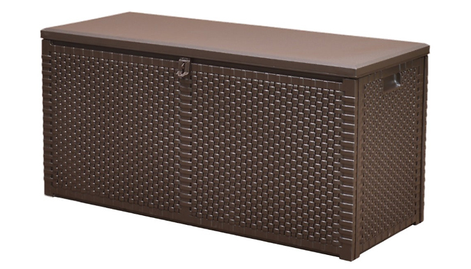 Weatherproof Rattan Garden Storage Box – 106L or 300L (£27.99)
